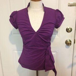 Express wrap blouse top purple oxford shirt top